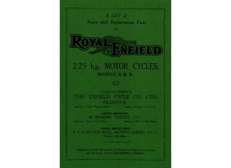 British Royal Enfield parts book 1930 Model A and 1930 Model B