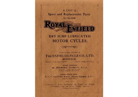British Royal Enfield 1930 Spare Parts Book
