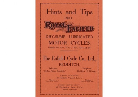 British Royal Enfield owners manual 1931 Model F, G, H & J