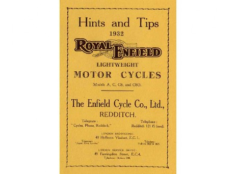 Royal Enfield Redditch early manuals and parts books
