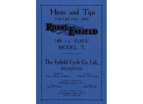 Manual for 148cc Model T Royal Enfield