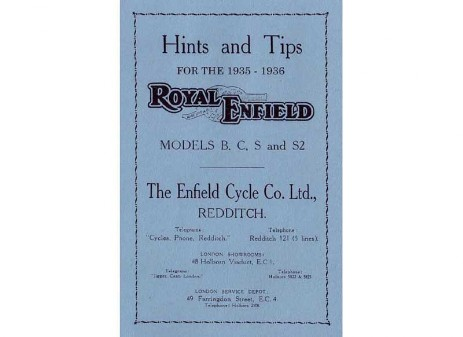 Manual for Royal Enfield Models B, C, S, S2 motorcycles from 1935 to 1936