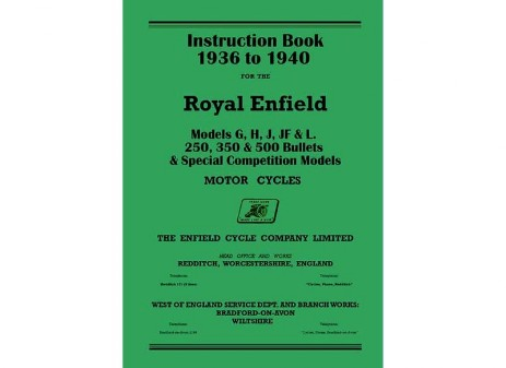 1936 to 1940 Royal Enfield G, J, J2, Jf, L, H handbook