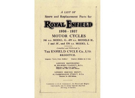 1936 to 1937 Royal Enfield G, J, Jf, L, H spare parts book