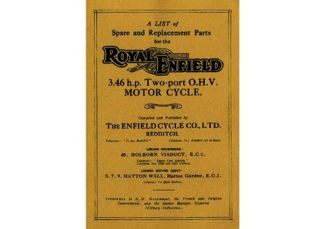 British Royal Enfield Workshop manual pre-war 1920s