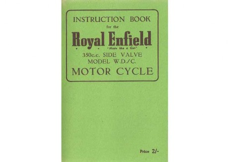Royal Enfield WD/C 350cc side valve Instruction Book