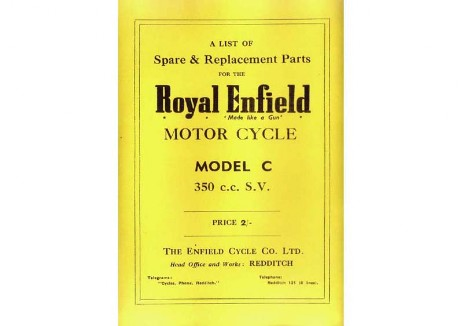 Royal Enfield WD/C 350cc side valve spare parts book