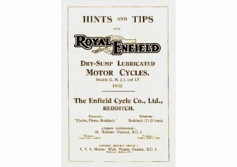 British Royal Enfield manual for 1932 Models G, H, J, L & LF