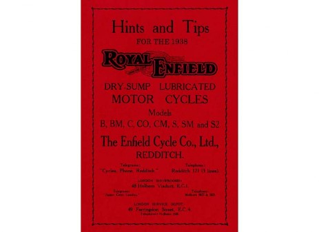 Royal Enfield manual for pre-war 250cc & 350cc motorcycles