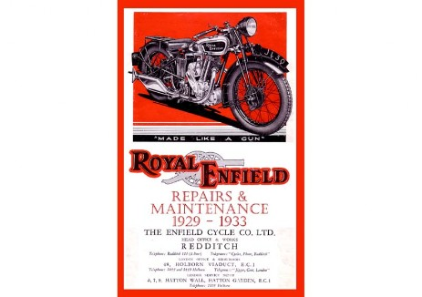 Workshop manual for Royal Enfield Model A, BO, C, F, L, H, G, LF, K