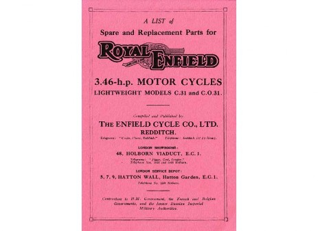 British Royal Enfield parts book 1930 Model C and 1930 Model CO