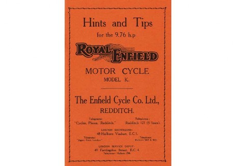 British Royal Enfield manual for 1932 - 1936 Model K v-twin