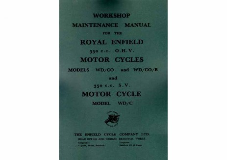 Royal Enfied manual for 350cc Model WD/CO and 350cc side-valve Model C